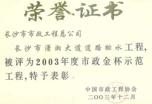 2003年度betway手机版下载金杯示范betway必威电竞